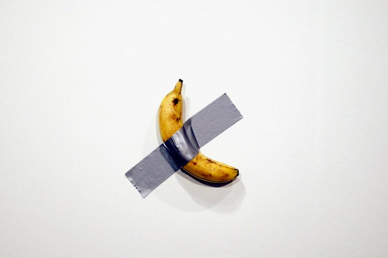 Duct-Taped Bananas Selling for $120K USD at Art Basel miami beach Maurizio Cattelan artworks andy warhol  Perrotin art gallery