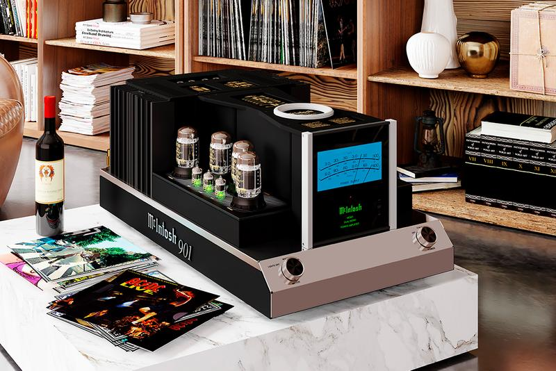 McIntosh Releases MC901 Dual Mono Amplifier home hi-fi audio music hardware 300 600 watt vacuum tube construction black green blue screen new york brand