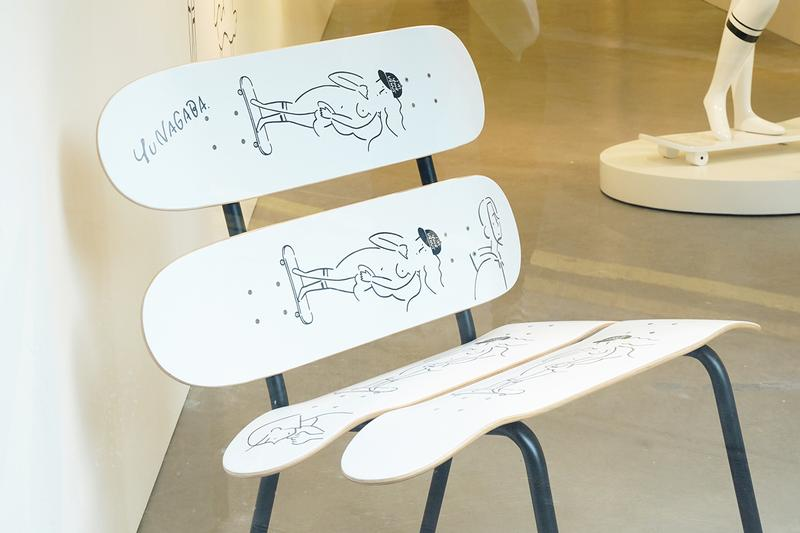 yu nagaba meet project im your venus exhibition artworks drawings skateboards figures apparel clothing collaboration