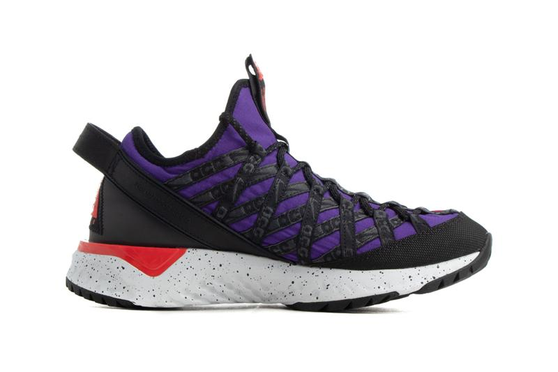 nike acg react terra gobe barely volt university gold noble red habanero court purple colorway colorblocked mismatched sneakers release