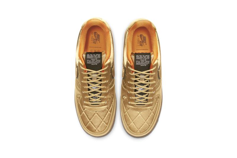 """Nike Air Force 1 '07 Premium Quilted Satin Army Jacket """"Cargo Khaki / Thermal Green / Bombay / Cargo Khaki"""" """"Designed and Tested in Beaverton, OR USA"""" Reflective Swoosh Logo 3M Heavy Duty Nylon """"Wheat / Club Gold / Bombay"""""""