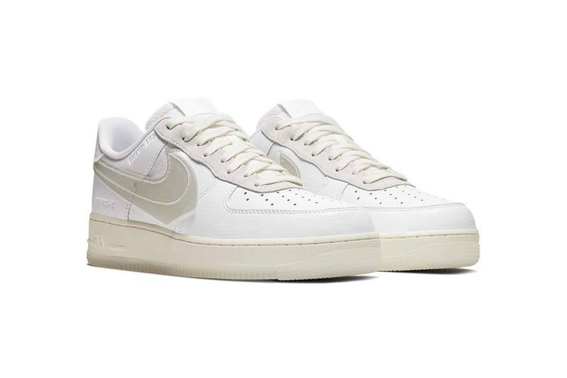 "Nike Air Force 1 LV8 ""White/Sail"" Translucent Swoosh ""2 – FILM AIR"" ""DNA – IM5197"" Debossed Details Leather Footwear Sneaker News Updates Drop Information First Look General Release GR colorway"