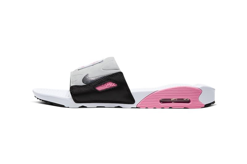 nike air max 90 slide sandal smoke grey black volt white rose pure platinum cool grey BQ4635 001 002 100 release date info photos price