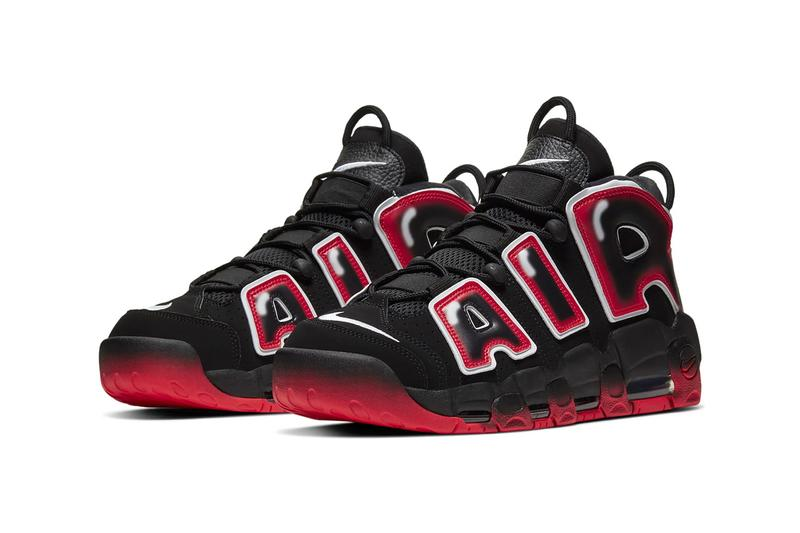 Nike Air More Uptempo 1996 Black Laser Crimson white sneakers shoes basketball sportswear runners trainers court kicks air unit bubble OG CJ6129 001 swoosh graffiti beaverton