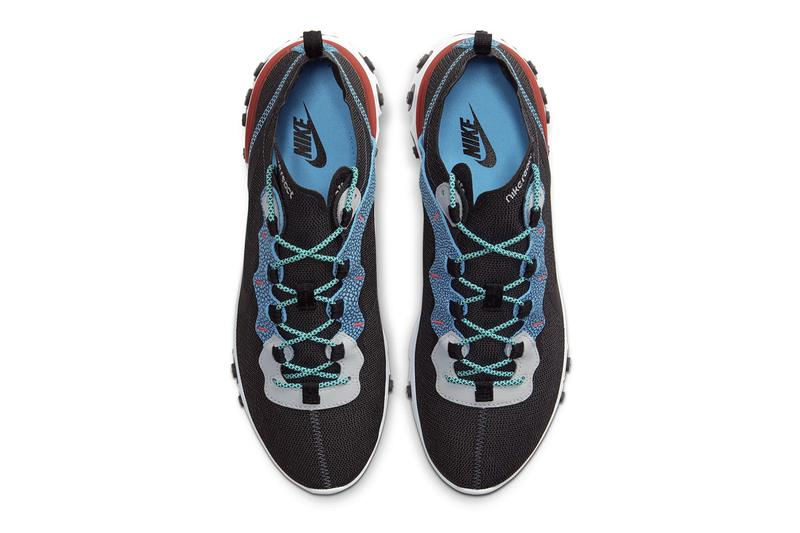 Nike React Element 55 Anthracite Blue Fury Pure Platinum University Red shoes footwear sneakers trainers runners kicks lifestyle pods react technology se CD2153 001 swoosh