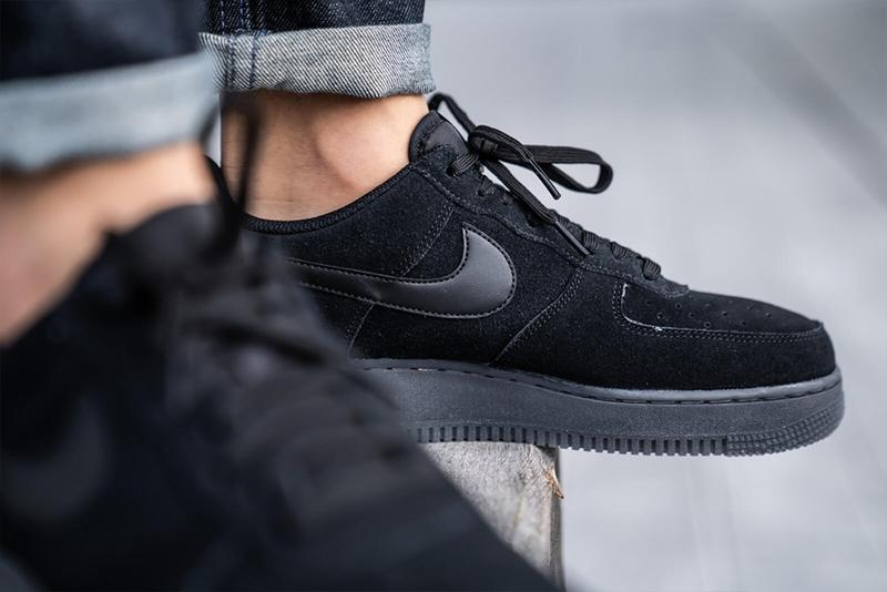 Nike Air Force 1 07 LV8 3 Black Anthracite triple suede shoes sneakers footwear kicks runners trainers retro nubuck BQ4329 002 swoosh beaverton oregon tonal colorway basketball