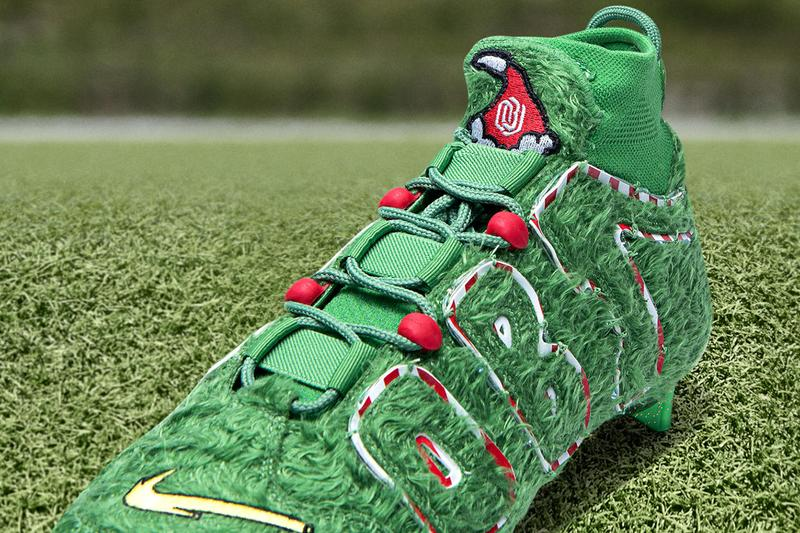 Nike Vapor Untouchable Pro 3 OBJ Uptempo Cleat Odell Beckham Jr. The Grinch Festive Christmas Character Green Furry Peppermint Candy Cane Week 16 wide receiver  Cleveland Browns Baltimore Ravens December American Football