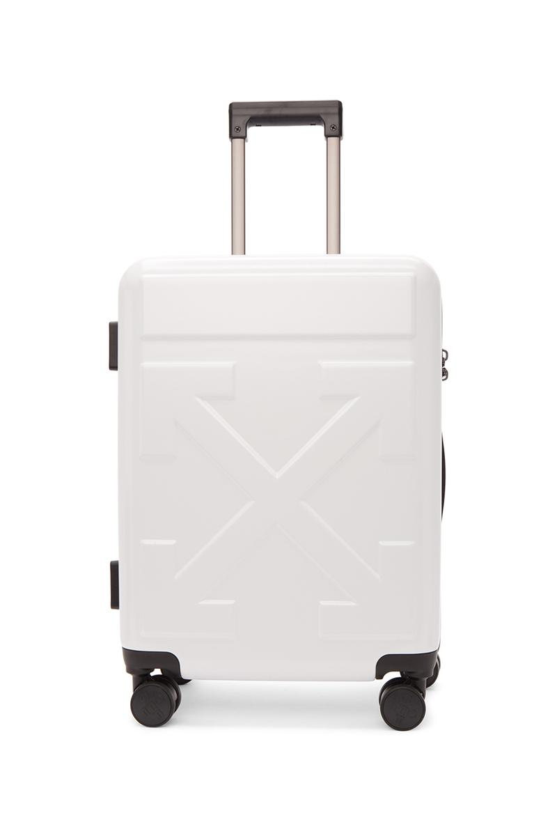"""Off-White™ Arrows """"FOR TRAVEL"""" Suitcases Release Information First Look Travel Virgil Abloh Streetwear Black Yellow White SSENSE How to Cop Luggage"""