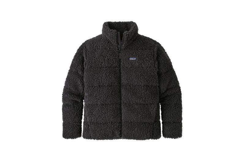 patagonia mens recycled high pile sherpa fleece down jacket cold weather protection reclaimed duck goose polyester ripstop lining treated with DWR durable water repellent