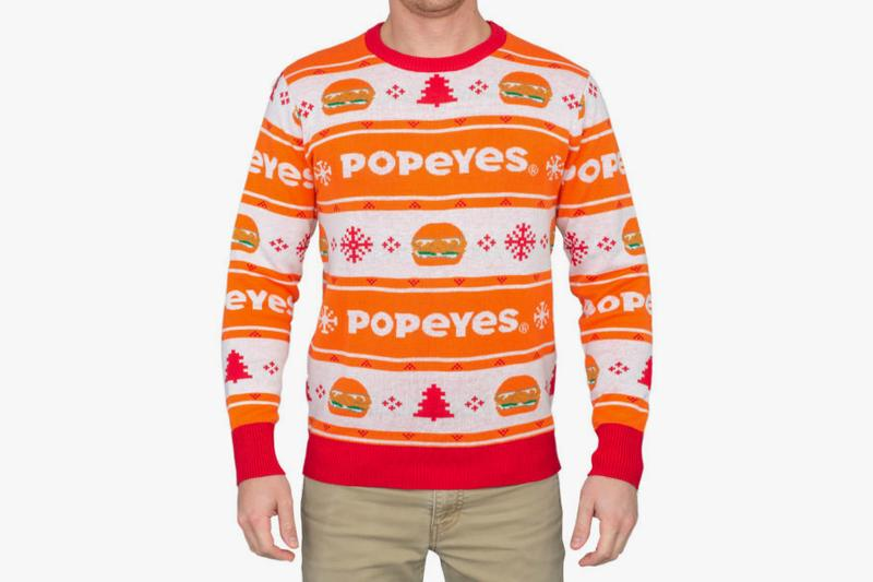 Popeyes Chicken Sandwich Ugly Christmas Sweater Release Info Buy Burger Seasonal Festive Period Gift Guide Funny Jumpers Print Louisiana Fast Food