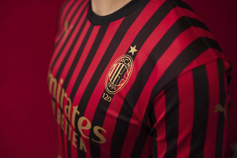 AC Milan 120th Anniversary PUMA Kit soccer football jerseys black red gold track jacket football devil logo Herbert Kilpin gold black red stripes limited edition Suso