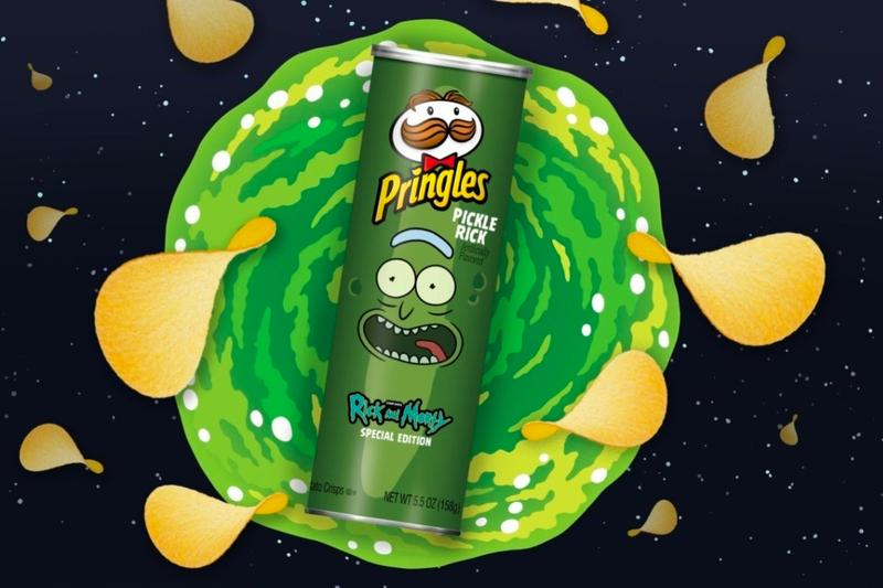 Rick and Morty Pringles Pickle Rick Flavor collaboration season three chips animation fast food Gareth Maguire adultswim super bowl 2020 snacks special edition jill king Justin Roiland J Michael Mendel