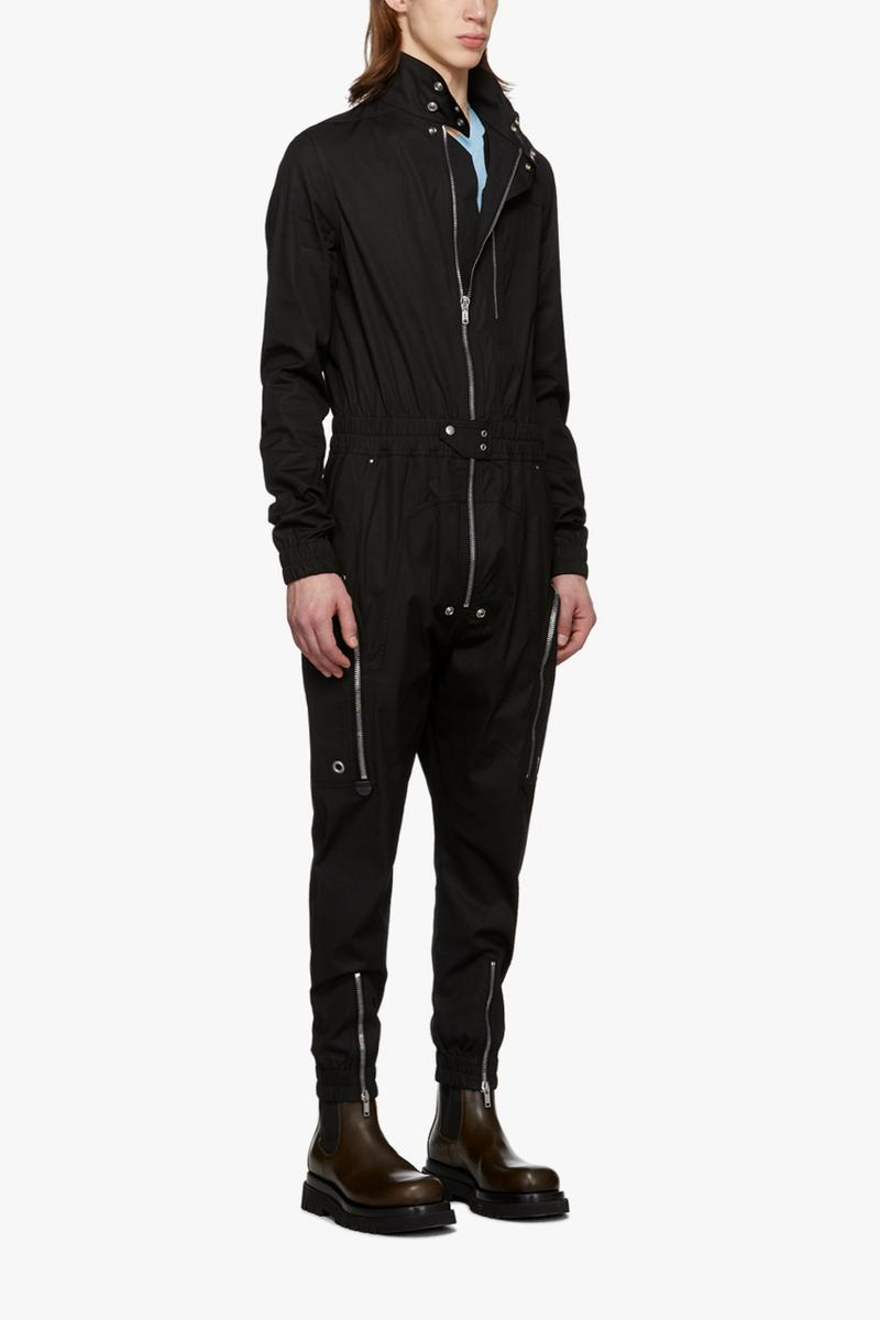 Rick Owens Black Bodybag Jumpsuit boiler suit flight suit one piece jacket outerwear onesie drkshdw monochromatic noir silver toned zippers riri calfskin made in italy fall winter 2019