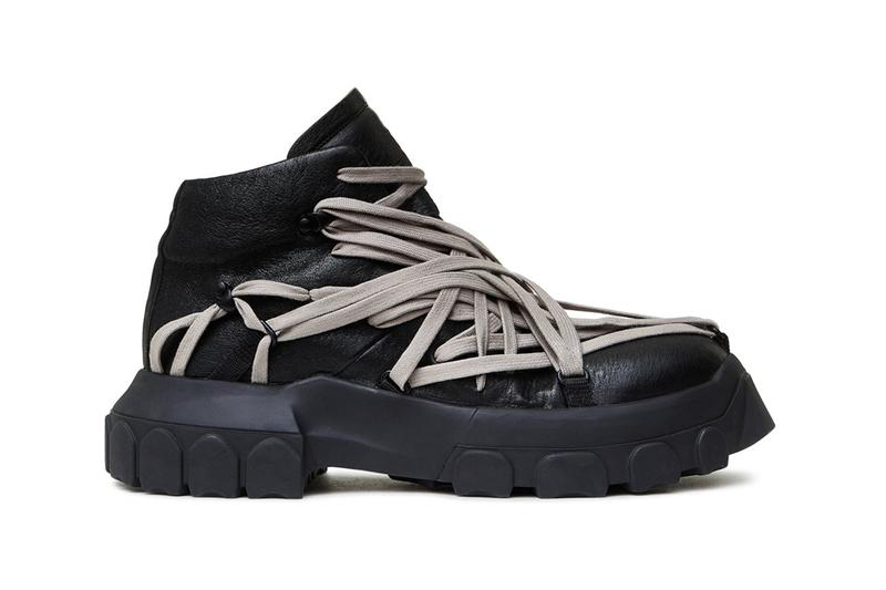 Rick Owens Black Tecuatl Tractor Sneakers FW20 extra laces avant garde rizzoli books cfda menswear award designer leather rubber grey