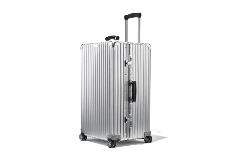 RIMOWA Classic Trunk Silver Aluminum anodized alloy shell hard case suitcase travel made in germany leather handles ball bearing tsa approved locks 100l flex divider 14 days height adjuster