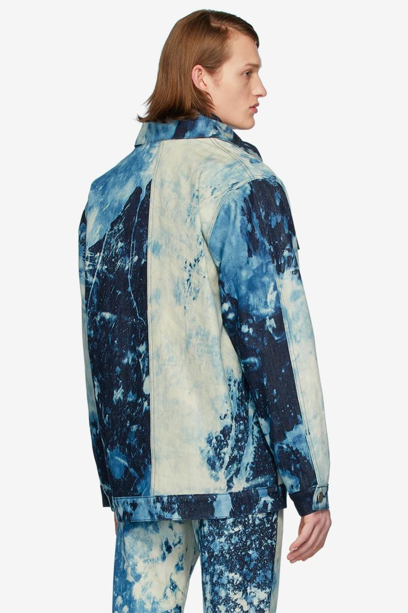 S R STUDIO LA CA Indigo SOTO Hand Bleached Denim Barn Coat Multicolor Pine Grove Chore jacket fall winter 2019 collection outerwear workwear made in united states of america artist