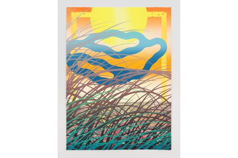 Sam Friedman 'Beach Monoprints No. 4' Print Info Louis Buhl & Co. Sun Nature Orange Yellow Green Blue Black Purple