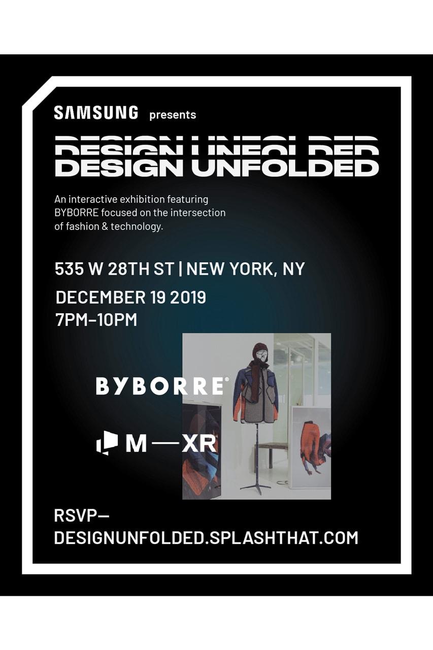 Samsung Design Unfolded Event in New York City BYBORRE Elliott Round Jason Bolden samsung galaxy fold interactive exhibition technology fashion panel discussion mimic xr