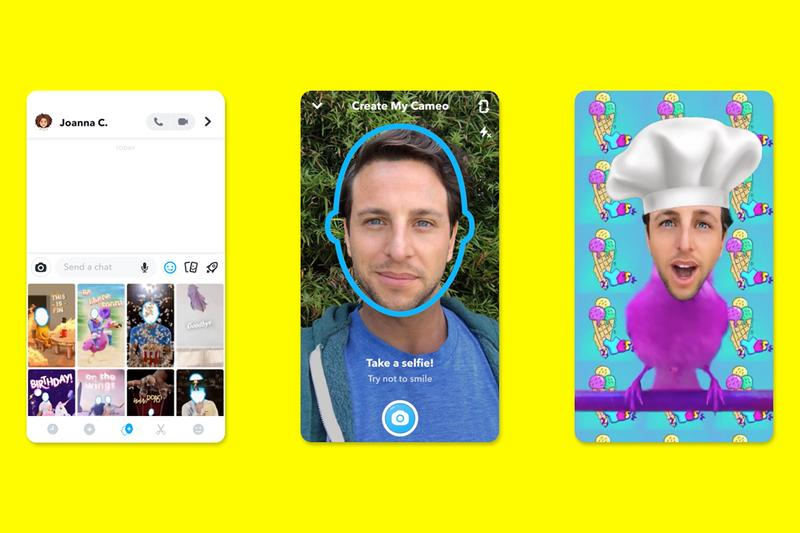 Snapchat Cameos Overlays Selfies Onto GIFs launch info tech social media chat messenger bitmoji short video clips app ios android global release