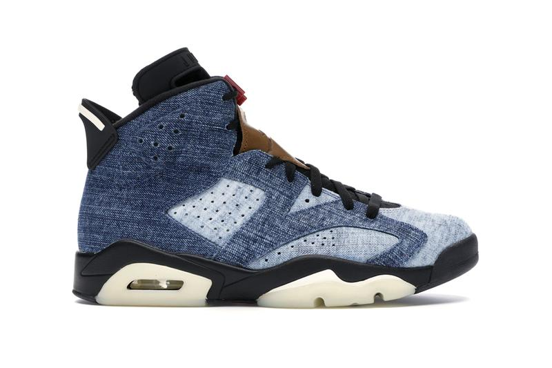 StockX Air Jordan 6 Washed Denim Release washed denim upper and tan leather red lace lock translucent outsole