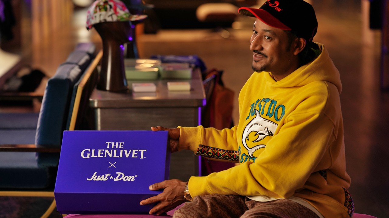 Just Don x The Glenlivet Collaboration Interview whiskey cognac purple hoodie bottle don c