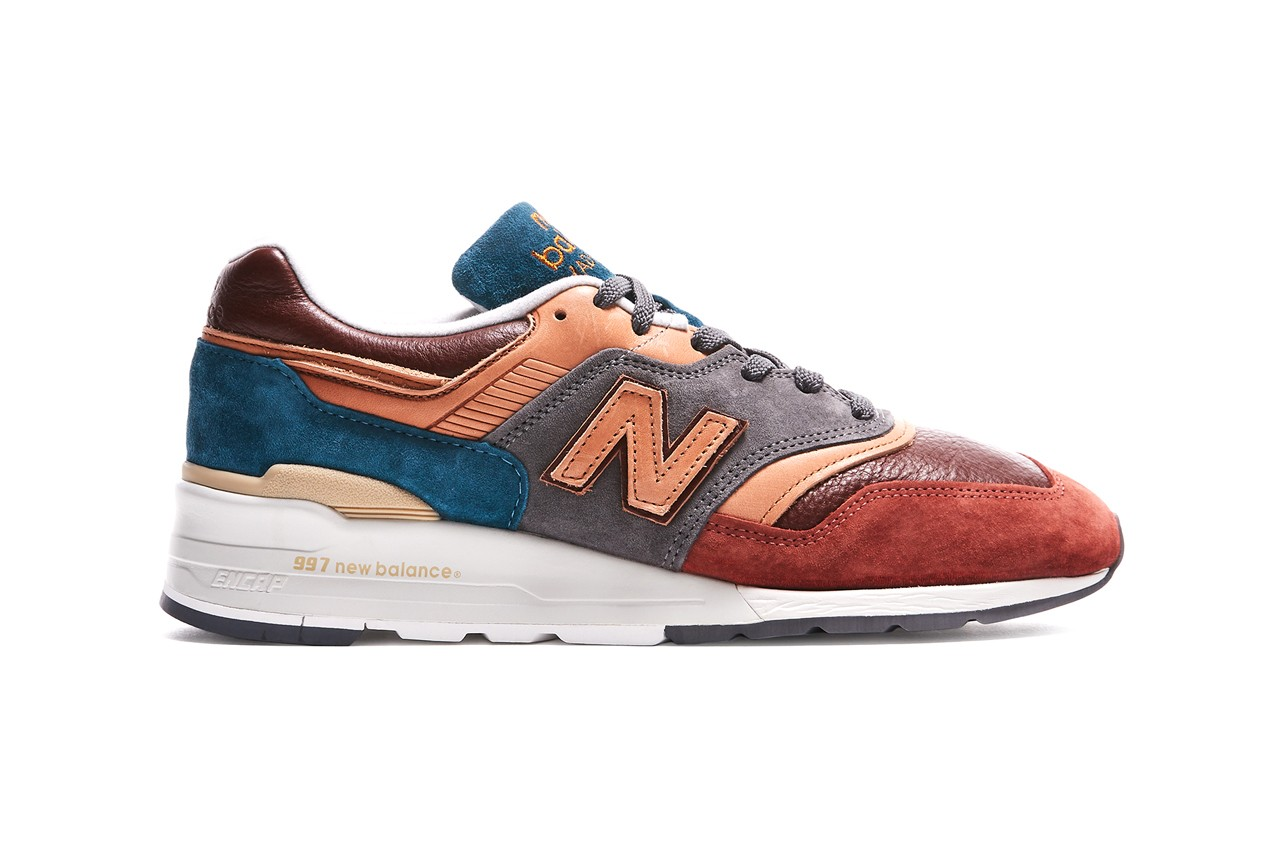 todd snyder new balance m997 made in usa sneakers release blue burgundy tumbled bison leather chemical free vegetable tanned leather pigskin suede