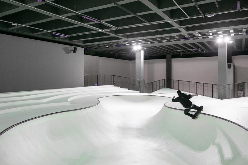 "Triennale Milano 'OooOoO' Skatepark Installation ""Year of Play"" Koo Jeong A Fluorescent Green Glow-in-the-Dark Academy of Skateboarding Parco Sempione was curated by Julia Peyton-Jones Lorenza Baroncelli"