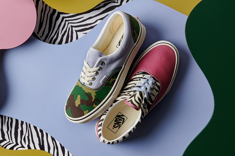 vans mismatch era pack lowtop lace up sneakers classic slip on release blue canvas camouflage camo pink zebra stripe print pattern
