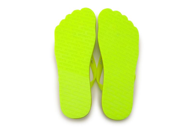 Vetements Neon-Yellow Anatomic Flip Flops Release summer footwear