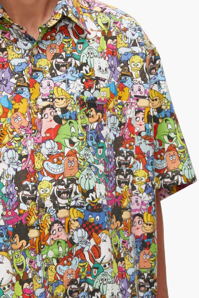 Vetements Cartoon-Print Brushed Cotton Shirt Demna Gvaslia Spring Summer 2020 SS20 SpongeBob SquarePants The Simpsons Dennis the Menace Betty Boop Johnny Bravo Shrek