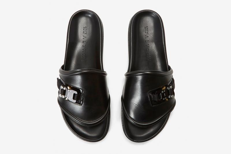 1017 ALYX 9SM Black Leather Slides Release Info made in italy price details alyx buckle smooth grain rubber sole buy now ln-cc