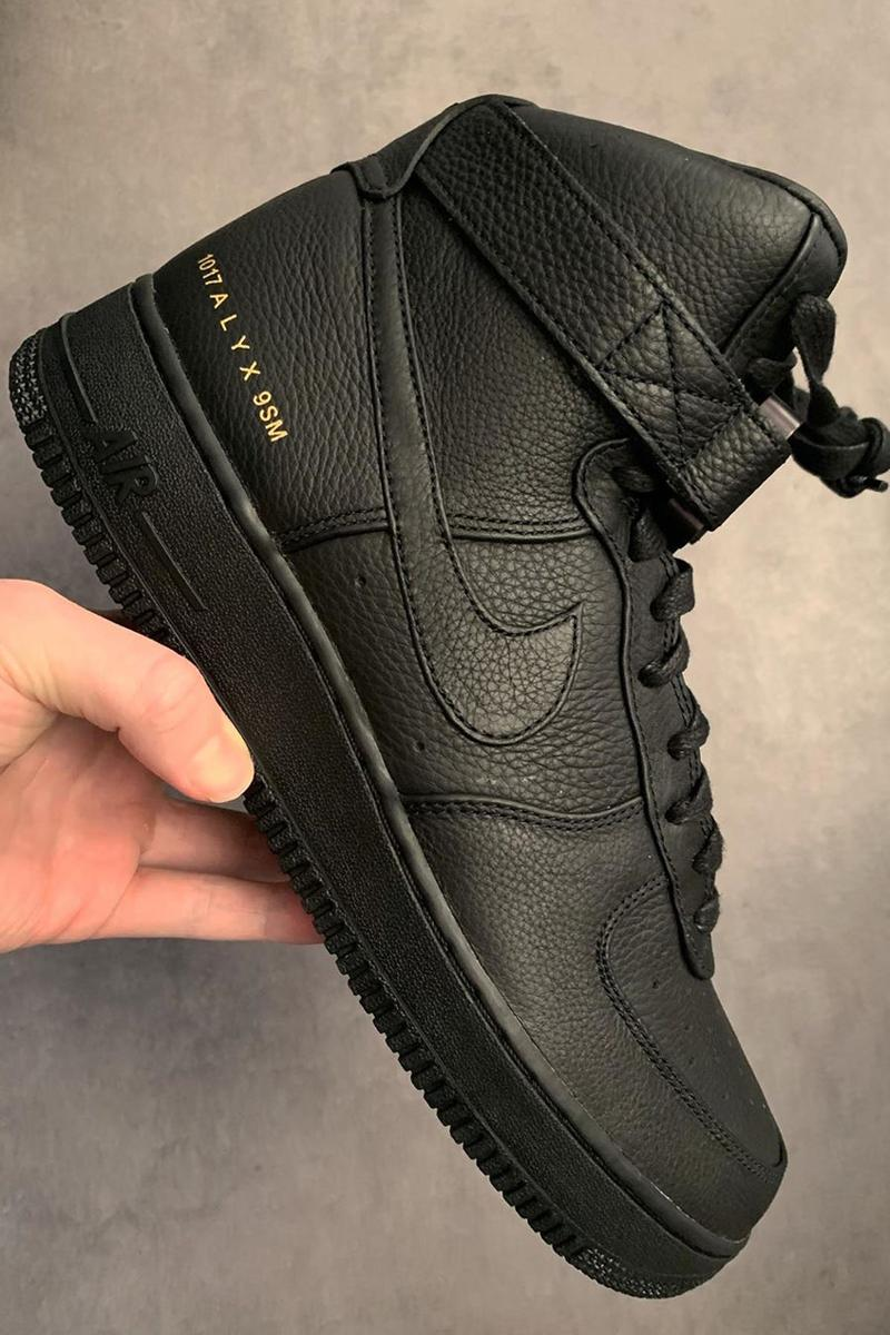 1017 alyx 9sm nike air force 1 high black white paris fashion week pfw matthew m williams release date info photos price