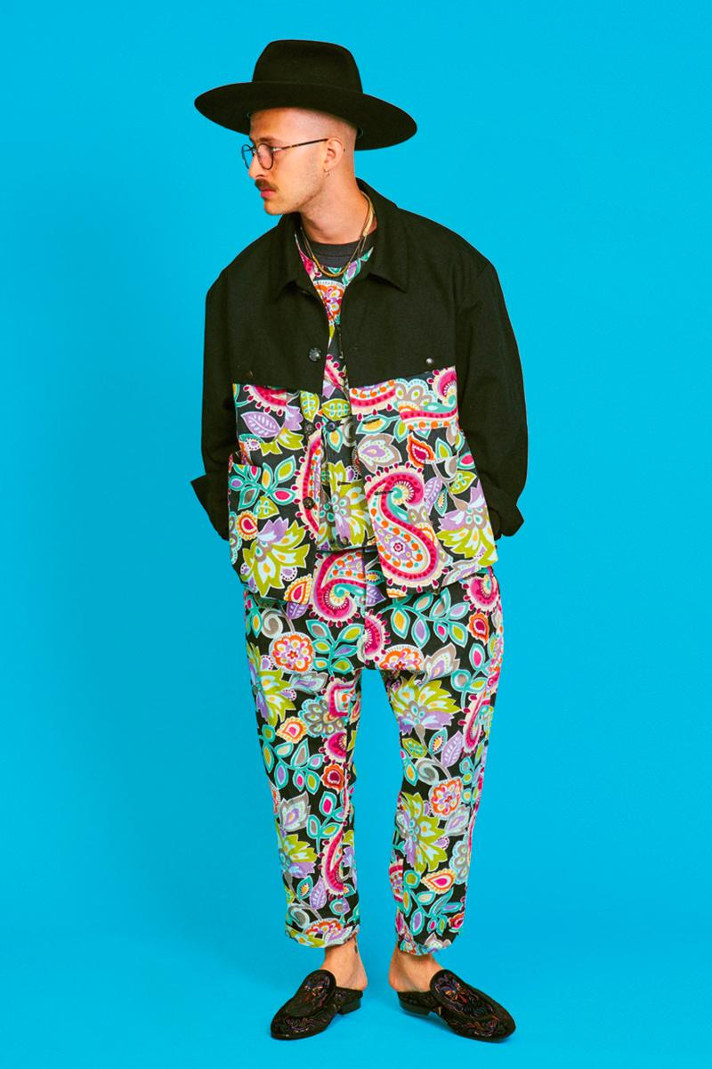 AïE Spring Summer 2020 Lookbook Nepenthes daiki suzuki keizo Shimizu LTB Jacket Natural 9oz Checker Canvas THT Jacket Big Paisley layering editorial Printed Batik PC Jersey