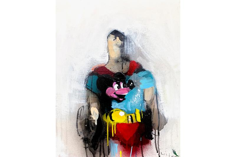 "Anthony Lister & Brian Leo Exhibition Megumi Ogita Gallery Oil Paintings ""Rude Words"" Superheroes Superman Batman Spiderman"