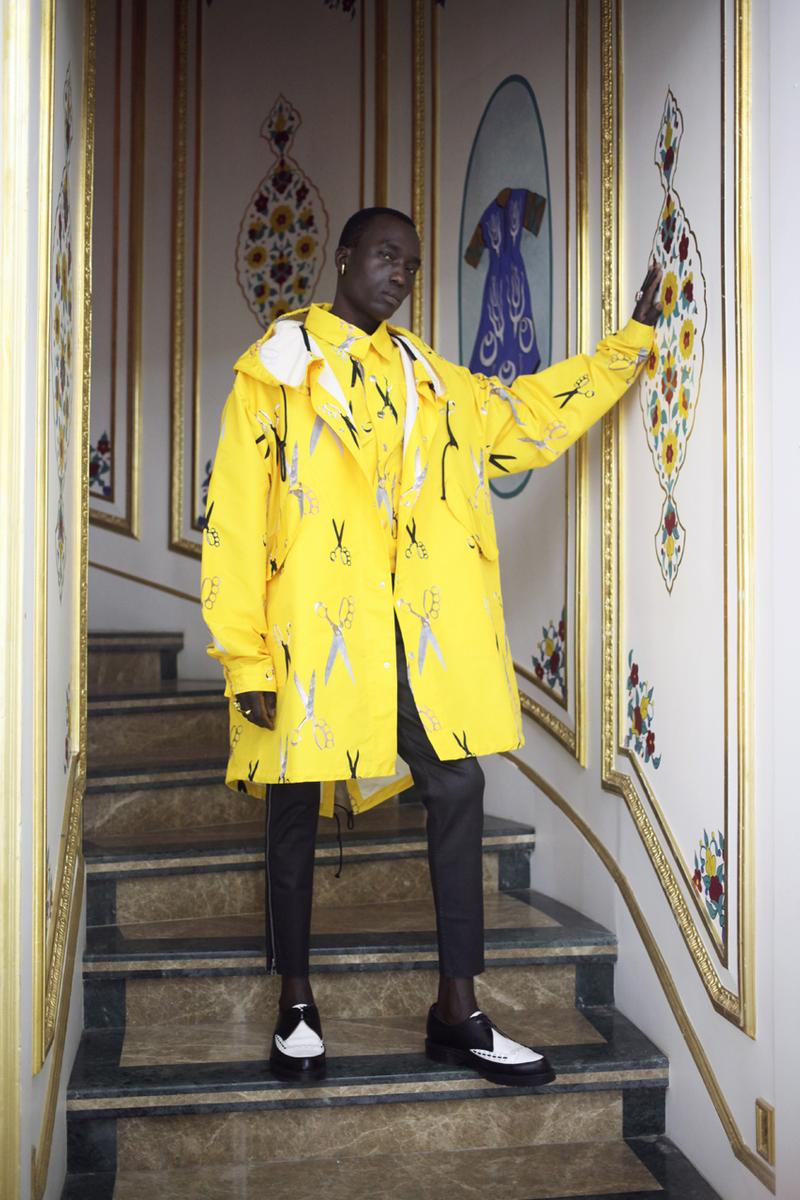 "Art Comes First Fall/Winter 2020 Lookbook Collection Paris Fashion Week Coats Pants Jackets Skull Scissors Black Red Yellow Hats Jewelry Rings Chains Gold Silver Crewnecks Knitwear ""Exhibition"""