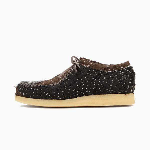 By Walid Inno Top-Stitched Antique Textile Mocassins