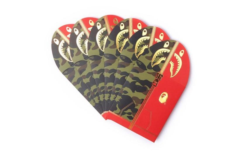 BAPE Drops Exclusive New Year Gifts 2020 Chinese new year a bathing ape calendar candy box red pocket envelopes shark face hoodie accessories collectibles