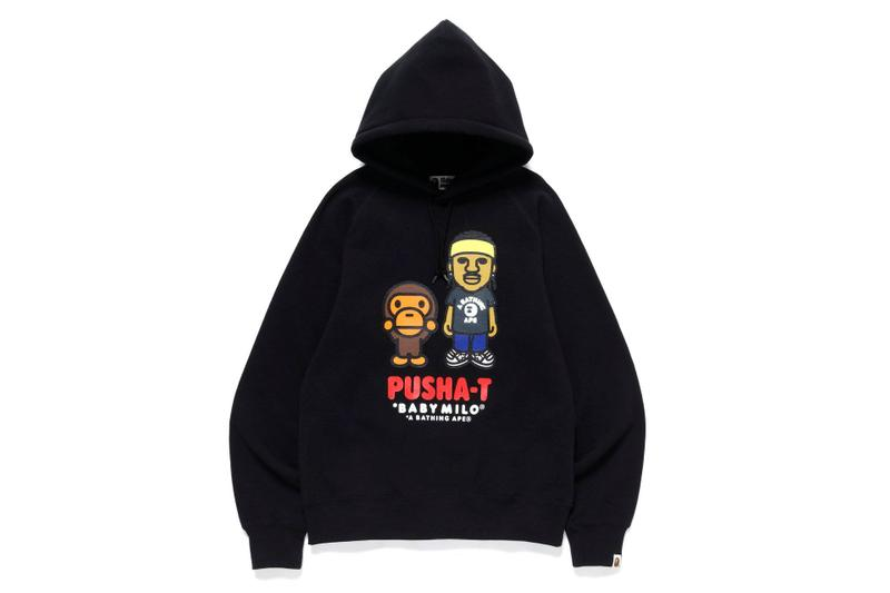 pusha t x BAPE Collection a bathing ape collaborations collections lookbooks ape heads show t shirts baby milo shark hoodies good music