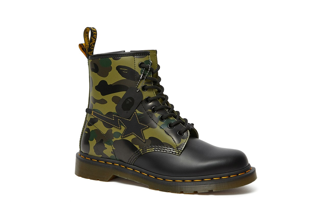 BAPE Dr Martens DMs 1460 boot remastered release information collaboration bapesta 1st camouflage bape head camo buy cop purchase