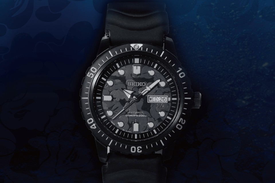 BAPE and Seiko Unveil Diver's Watch in Black/Gray Camo