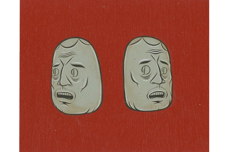 """Barry McGee """"Potato Sack Body"""" Exhibition Perrotin Tokyo Caricatures Paintings Heads"""