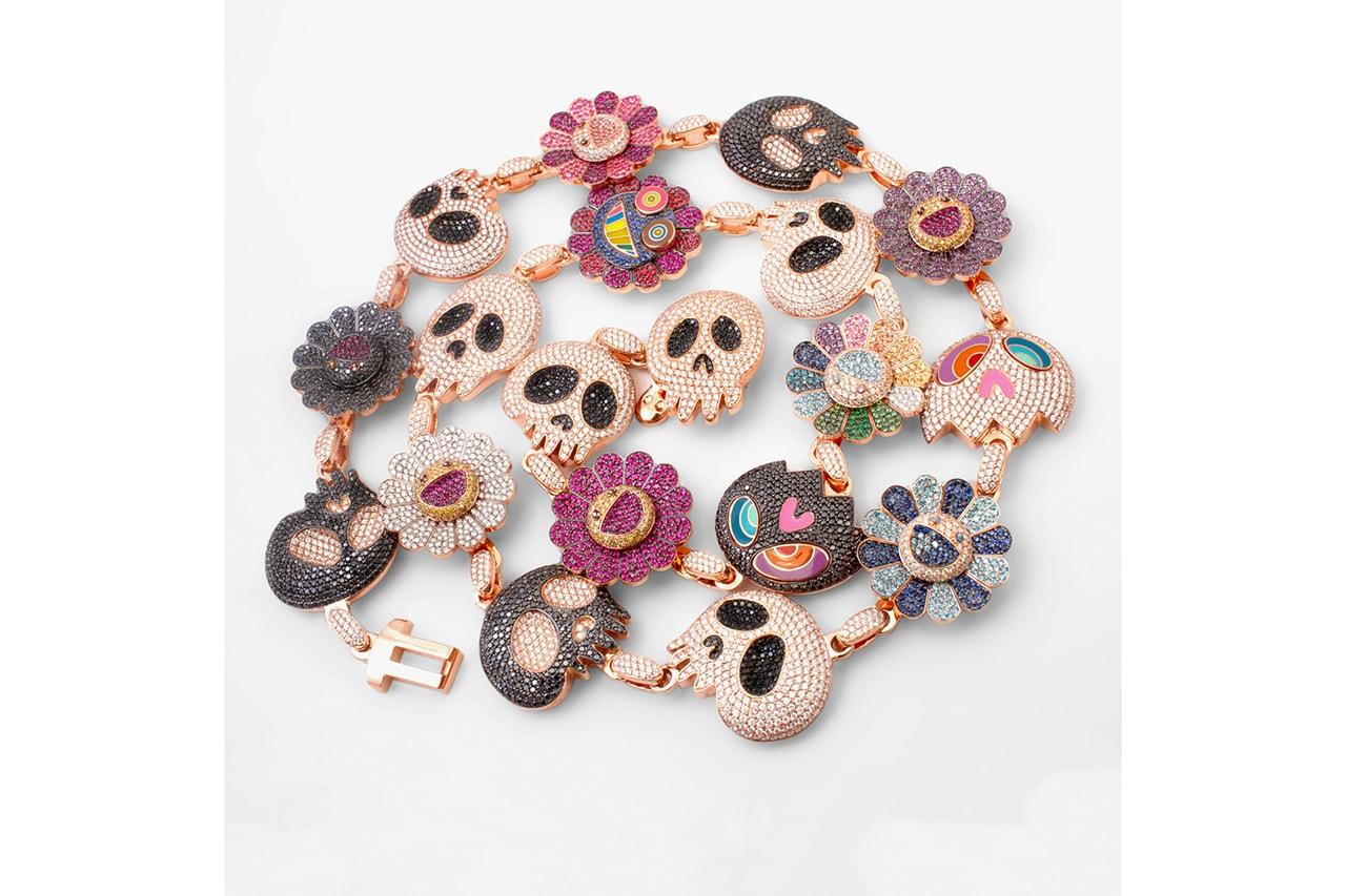 Kid Cudi's Murakami-Inspired Ben Baller Necklace diamond sapphire ruby takashi kiki approved official skull flower