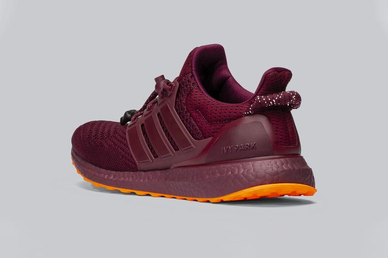 IVY PARK x adidas ultraBOOST Official Look  beyonce red burgundy upper knit orange hang tag unisex