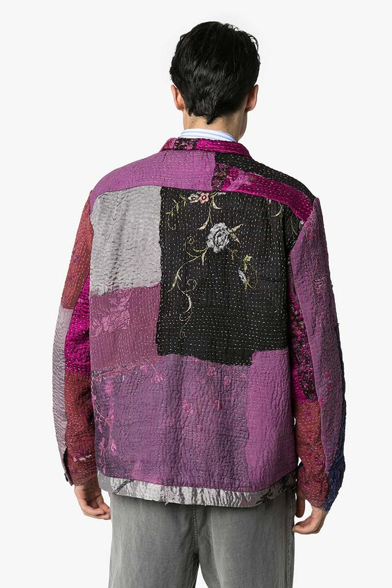 by walid jono patchwork bomber jacket release outer composition silk lining cotton long sleeves relaxed fit classic collar