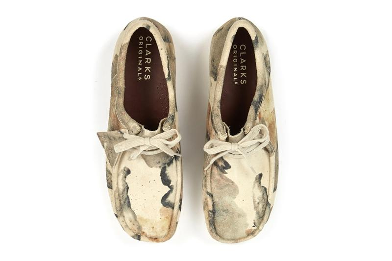 Clarks Originals Wallabee Off White Camo moccasin footwear shoes Triangle Tag Camoflague Water Resistant English Stead Suede Crepe Rubber Sole boots trainers leather fall winter 2020