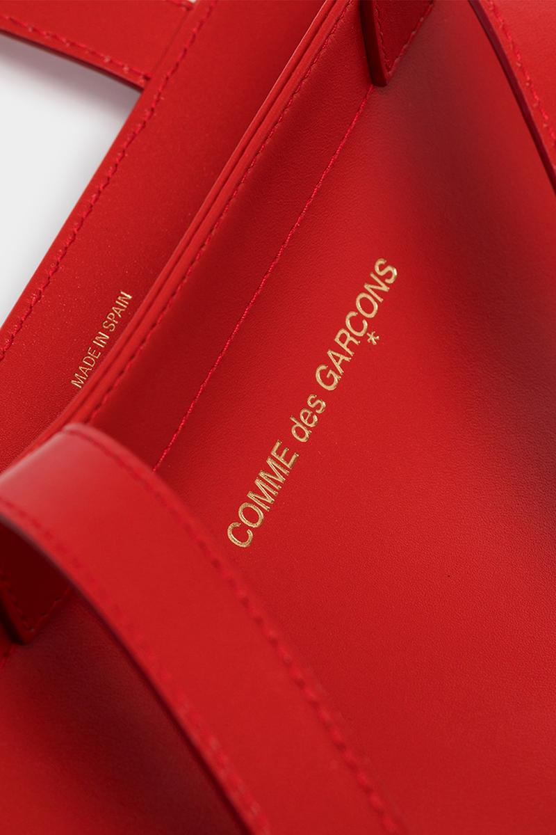 COMME des GARÇONS Red & Black Logo Tote Bags Release info drop date price wallet logo