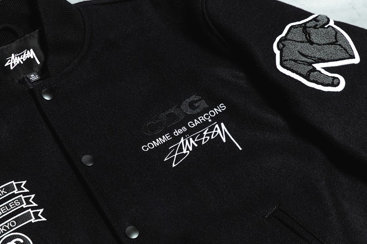 A Closer Look at the COMME des GARÇONS x Stüssy 40th-Anniversary Varsity Jacket