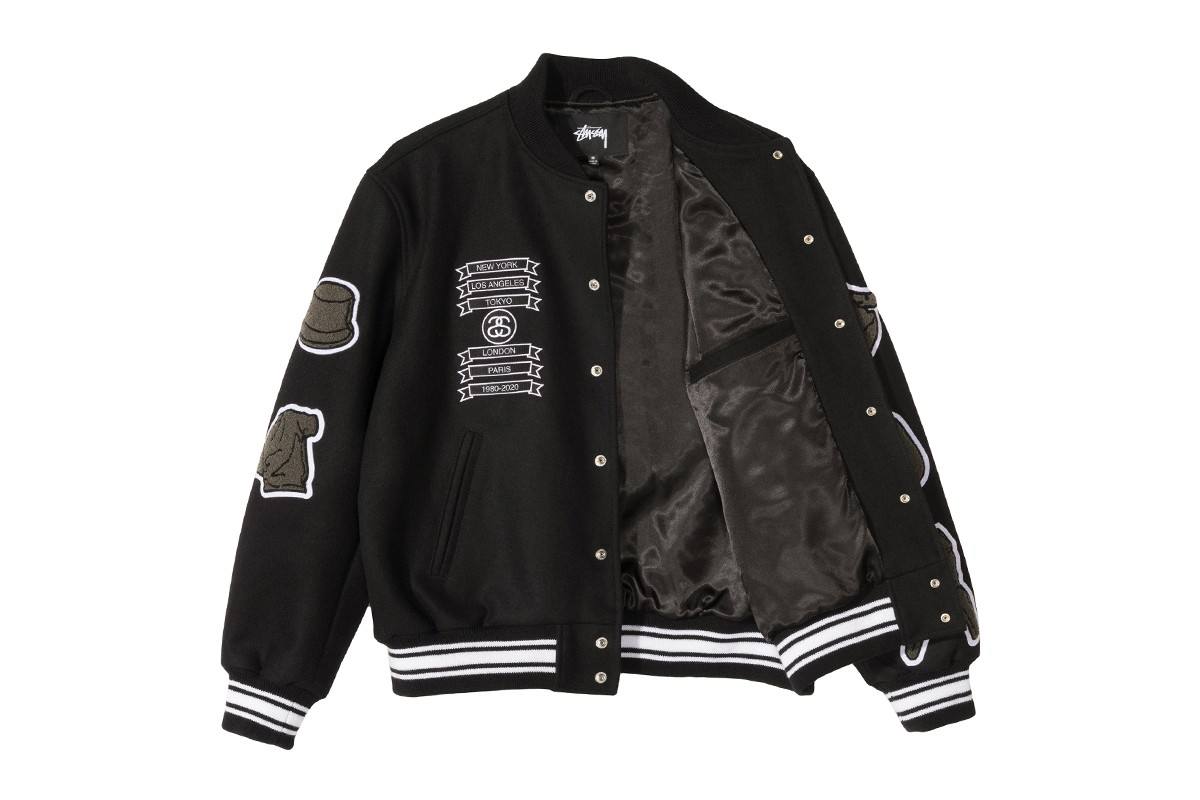 COMME des GARÇONS Stüssy 40th Anniversary Varsity Jacket Release Info Buy Price Where Melton Wool Black