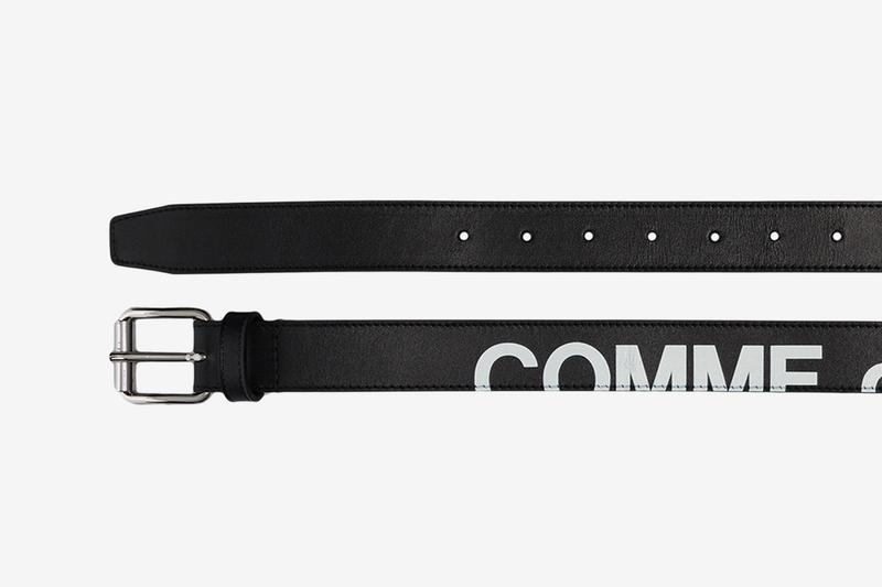 COMME des GARCONS Wallet Leather Logo Belt accessories buckle logomania branding rei kawakubo wallet pants treated cdg strap girdle band waist loop fasten silver tone hardware