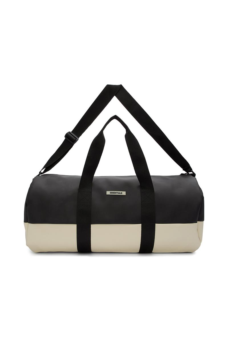 Fear of God ESSENTIALS Bag Collection Release SSENSE Shop Cop Online Drops Jerry Lorenzo Backpack Rucksack Duffle Bag Tote Waist Belt Straps Canvas Coated Cream Black Tonal